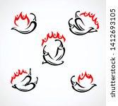 chili and pepper set.... | Shutterstock .eps vector #1412693105