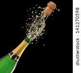 bottle of champagne with splash ... | Shutterstock . vector #141270598