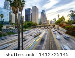 downtown los angeles traffic at ...   Shutterstock . vector #1412725145