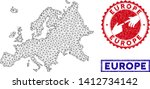 2d polygonal europe map and... | Shutterstock .eps vector #1412734142