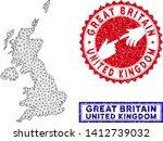 2d polygonal united kingdom map ... | Shutterstock .eps vector #1412739032