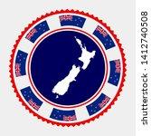 new zealand flat stamp. round... | Shutterstock .eps vector #1412740508