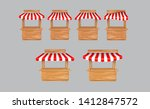 set of awing with wooden market ... | Shutterstock .eps vector #1412847572
