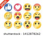 cute cartoon face emotion mood... | Shutterstock .eps vector #1412878262