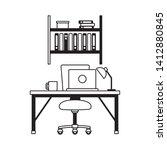 office workplace furniture desk ... | Shutterstock .eps vector #1412880845