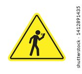 no texting while walking yellow ...   Shutterstock .eps vector #1412891435