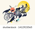 dna concept. evolution scale... | Shutterstock .eps vector #1412923565