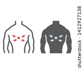 back pain line and glyph icon ...   Shutterstock .eps vector #1412927138