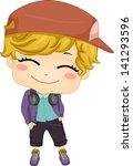 Illustration of Cute Little Boy Hip-hop Dancer - stock vector