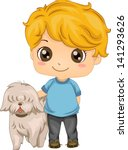 Illustration of a Little Boy with his Pet Dog - stock vector