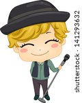 Illustration of Little Boy Pop Star holding a Microphone with Stand - stock vector