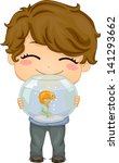 Illustration of Little Boy carrying his Pet Fish an Aquarium - stock vector