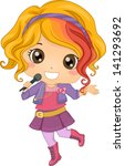 Illustration of Little Girl Pop Star holding a Wireless Microphone - stock vector