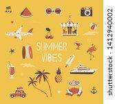 'summer vibes' flat vector... | Shutterstock .eps vector #1412940002