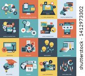 colorful icon set of business ... | Shutterstock .eps vector #1412973302