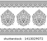 seamless pattern of mehndi... | Shutterstock .eps vector #1413029072