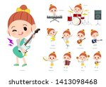 a set of girl playing rock 'n'... | Shutterstock .eps vector #1413098468