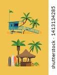 hot summer beach resort themed... | Shutterstock .eps vector #1413134285