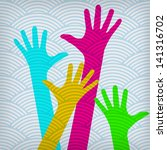 happy colorful hands on the... | Shutterstock . vector #141316702