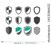 shield icon set security symbol ... | Shutterstock .eps vector #1413186422