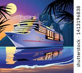 cruise ship under the moonlight ... | Shutterstock .eps vector #1413196838