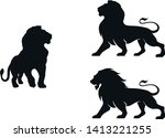 Lion Silhouette Set. Isolated...