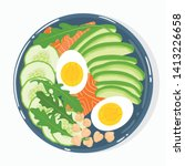buddha bowl with avocado ... | Shutterstock .eps vector #1413226658