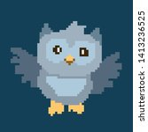 cute bird animal pixelated owl  ... | Shutterstock .eps vector #1413236525