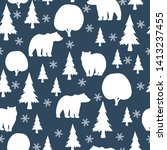 seamless pattern with bear in... | Shutterstock .eps vector #1413237455