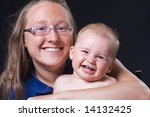 Mother and baby portrait - stock photo
