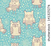 vector cartoons owl seamless