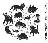 pet shop silhouette  types of... | Shutterstock . vector #1413270698