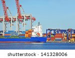 container stack and ship under... | Shutterstock . vector #141328006