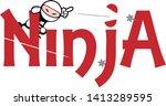 ninja logo character vector... | Shutterstock .eps vector #1413289595