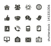 communication icon set. rounded ...