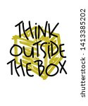 think outside the box   funny... | Shutterstock .eps vector #1413385202