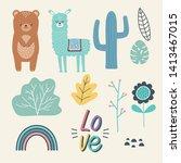 bear and llama cartoon design...   Shutterstock .eps vector #1413467015