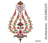 colorful mughal flower motif... | Shutterstock .eps vector #1413482225