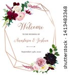 dark chic fall flowers vector... | Shutterstock .eps vector #1413483368