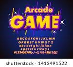 text arcade game. creative font.... | Shutterstock .eps vector #1413491522