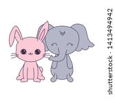 cute elephant with rabbit...   Shutterstock .eps vector #1413494942