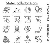 water pollution icon set in... | Shutterstock .eps vector #1413509135