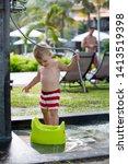 sweet toddler boy  washing his... | Shutterstock . vector #1413519398