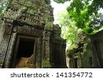 ruin of temple in angkor thom ...   Shutterstock . vector #141354772