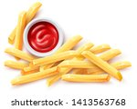 french fries and ketchup tomato ... | Shutterstock .eps vector #1413563768