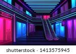 interior of neon mall. a vector ...   Shutterstock .eps vector #1413575945