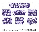 giveaway hand drawn lettering... | Shutterstock .eps vector #1413634898