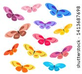 Stock vector collection of colorful butterflies for your design 1413687698