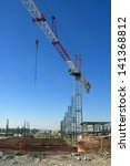 Crane and Foundation - stock photo