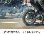 Motorbike Burnout  Biker On A...